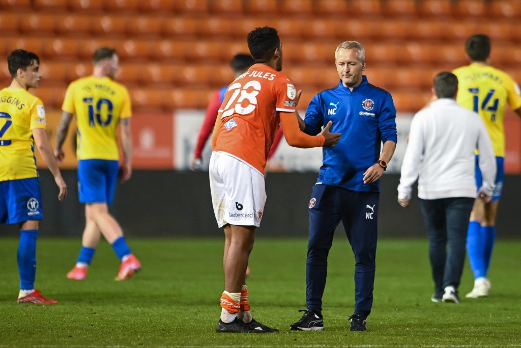 Carabao Cup - Blackpool v Sunderland - Neil Critchley, Head Coach of Blackpool, shakes hands with Tyreece John-Jules at the end of the game. Copyright: Craig Thomas / News Images