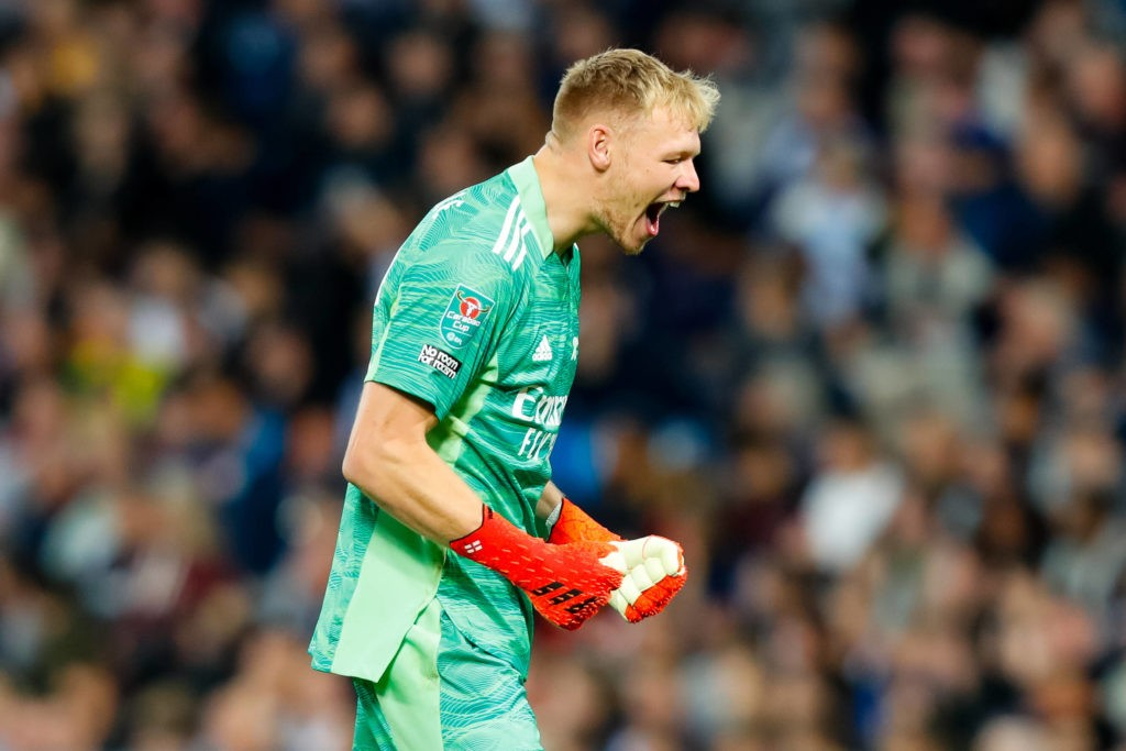 25th August 2021 The Hawthorns, West Bromwich, West Midlands, England EFL Cup Football, West Bromwich Albion versus Arsenal Aaron Ramsdale of Arsenal celebrates his team& x2019s first goal after 17 minutes 0-1 from Aubameyang Copyright: Graham Wilson