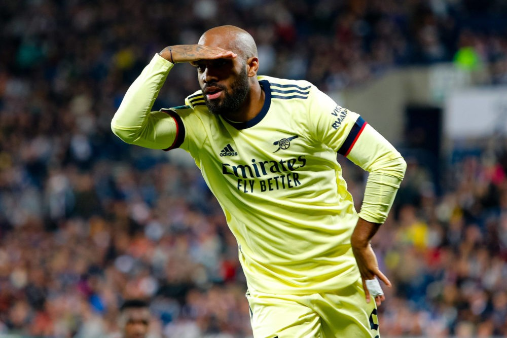 25th August 2021 - The Hawthorns, West Bromwich, West Midlands, England EFL Cup Football, West Bromwich Albion versus Arsenal - Alexandre Lacazette of Arsenal celebrates his goal. Photo: ActionPlus / Graham Wilson
