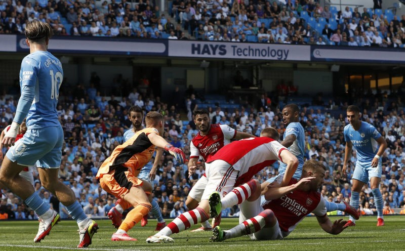 Manchester, England, 28th August 2021. Gabriel Jesus of Manchester City scores their third goal during the Premier League match at the Etihad Stadium, Manchester. Picture credit should read: Darren Staples / Sportimage