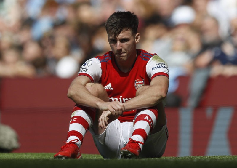 Manchester, England, 28th August 2021. Kieran Tierney of Arsenal reacts during the Premier League match at the Etihad Stadium, Manchester. Picture credit: Darren Staples / Sportimage