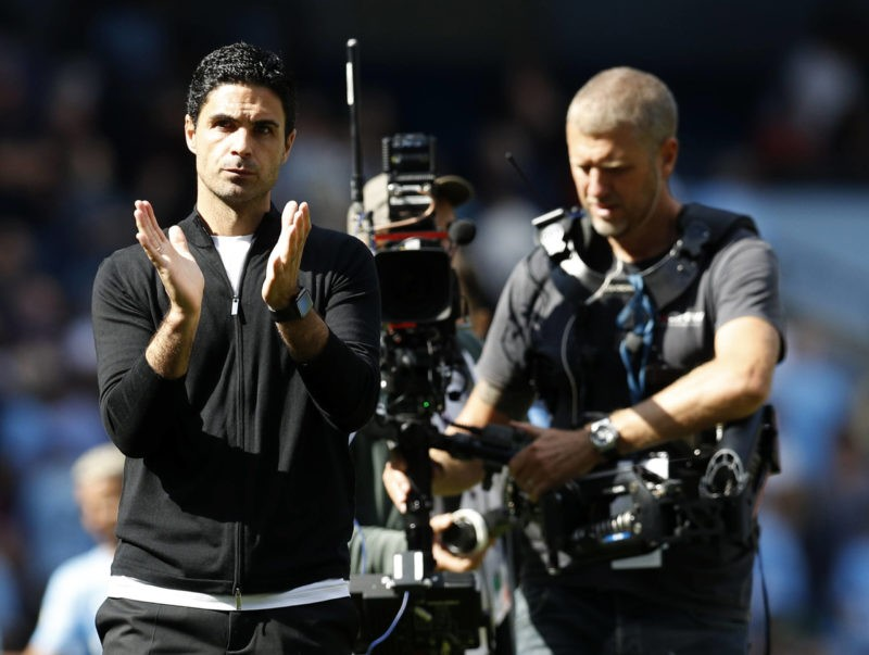 Manchester, England, 28th August 2021. Mikel Arteta manager of Arsenal applauds the fans after the Premier League match at the Etihad Stadium, Manchester. Picture credit: Darren Staples / Sportimage