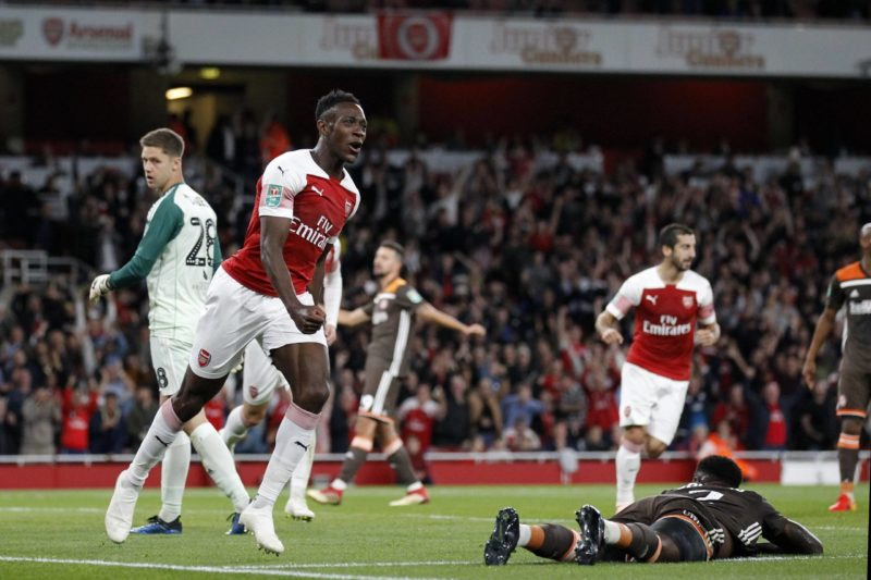 GOAL - Danny Welbeck of Arsenal celebrates scoring his second goal of the game during the EFL Carabao Cup 1/16-final match between Arsenal and Brentford at the Emirates Stadium, London, England on 26 September 2018. Copyright: Carlton Myrie