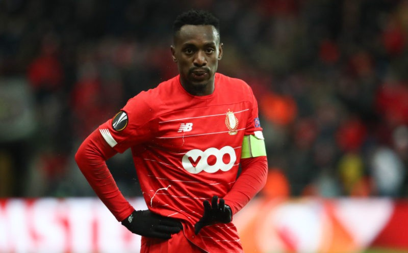 Standard s Paul-Jose Mpoku Ebunge looks dejected during a soccer match of Belgian team Standard de Liege against English club Arsenal F.C., Thursday 12 December 2019 in Liege, on the sixth and last day of the group stage of the UEFA Europa League, in group F.