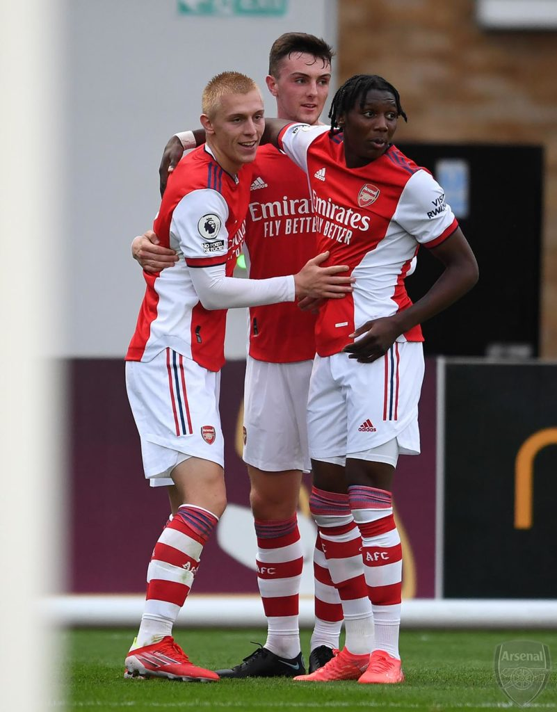 The Arsenal u23s celebrate a goal against Crystal Palace (Photo via David Price on Twitter)
