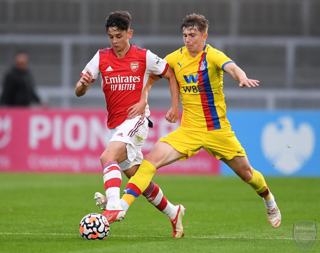 Charlie Patino with the Arsenal u23s against Crystal Palace (Photo via David Price on Twitter)