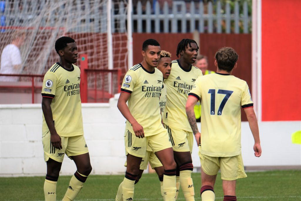 Miguel Azeez (2L) and the Arsenal u23s celebrate his goal against Ebbsfleet United (Photo by Dan Critchlow)