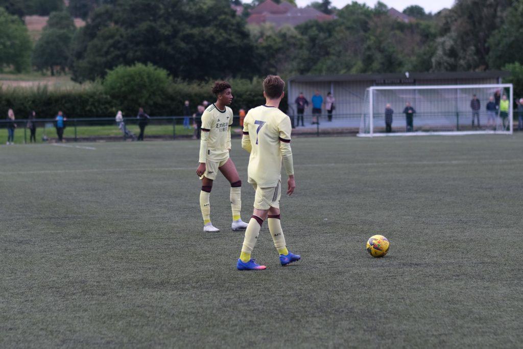 The Arsenal u18s prepare to take a free-kick against Hendon FC (Photo by Dan Critchlow)