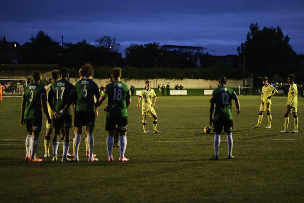 Mathaeus Roberts (2R) stands over a free-kick for the Arsenal u18s (Photo by Dan Critchlow)