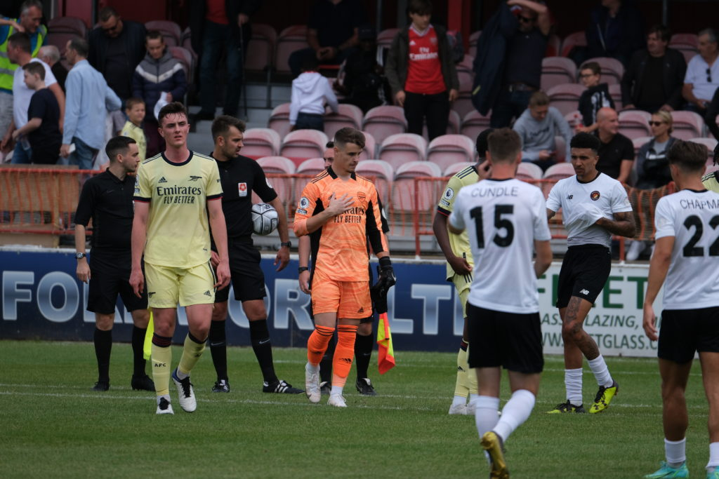 Alex Kirk (L) and James Hillson (C) after Hillson's penalty save at the end of the match for the Arsenal u23s (Photo by Dan Critchlow)