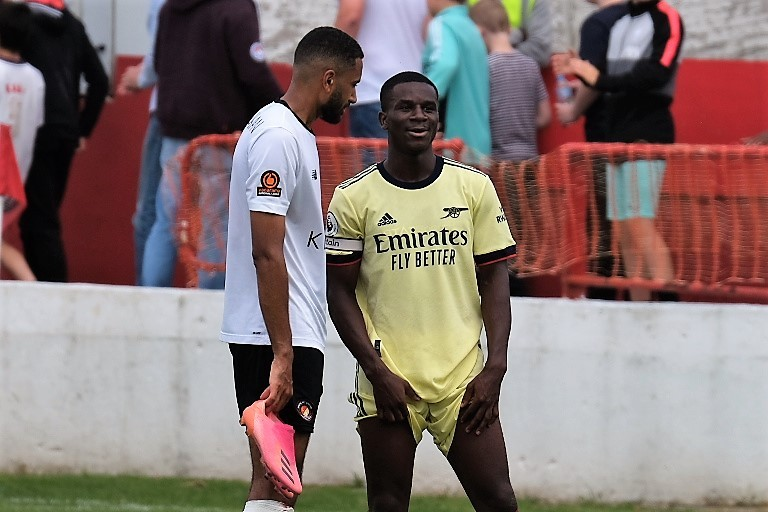 Jordi Osei-Tutu with the Arsenal u23s after their game against Ebbsfleet United (Photo by Dan Critchlow)