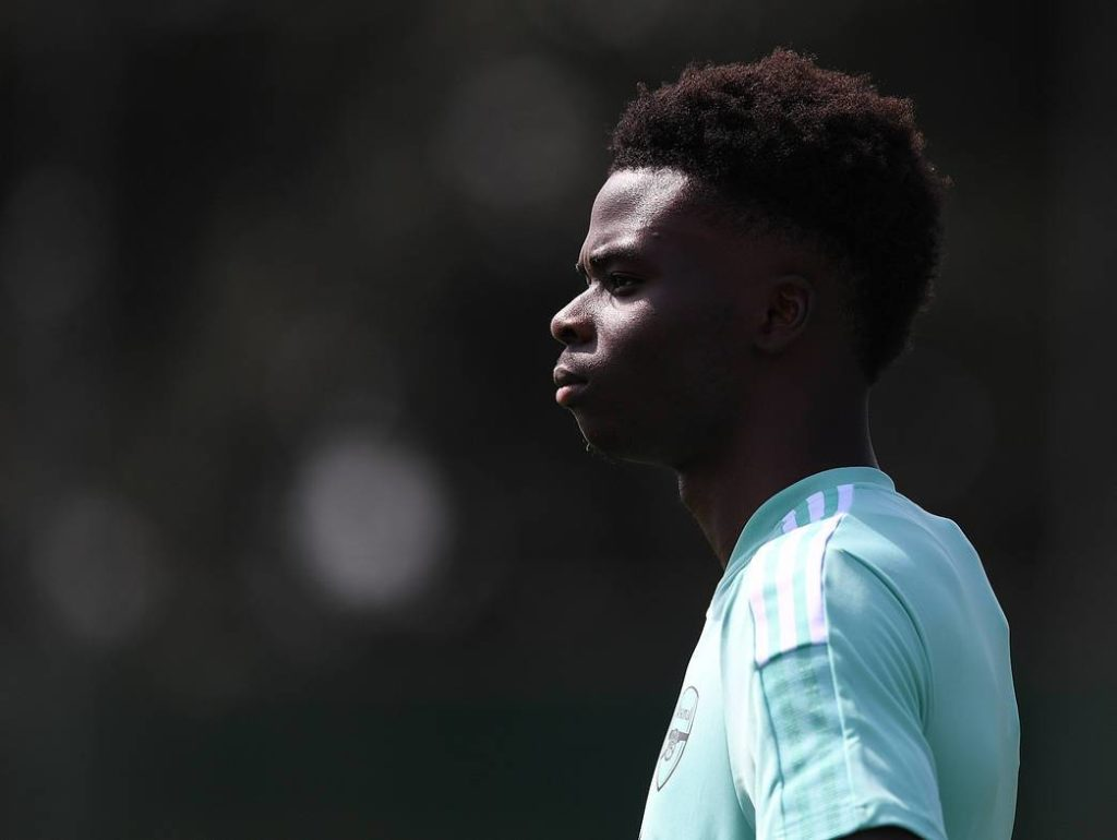 Bukayo Saka in training with Arsenal (Photo via Arsenal.com)