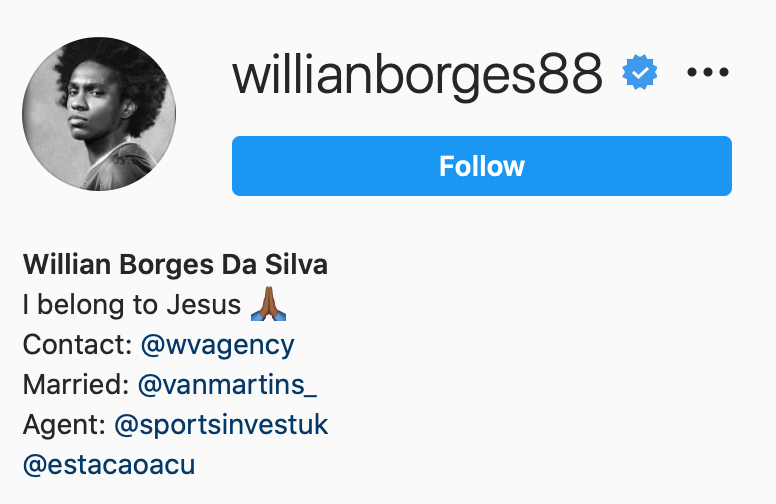 Willian Instagram bio