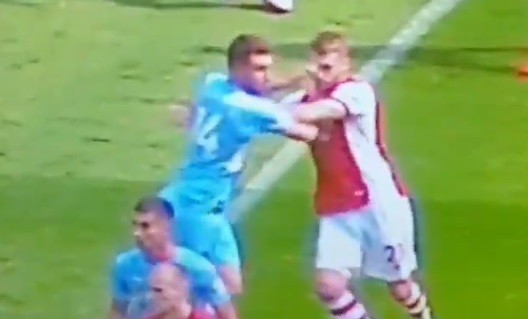 Calum Chambers being punched (video below)