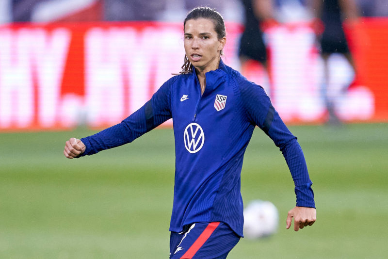 EAST HARTFORD, CT - JULY 01: United States midfielder Tobin Heath 7 looks on during warmups prior to action during a friendly match between USA and Mexico on July 01, 2021, at Pratt & Whitney Stadium at Rentschler Field, in East Hartford, CT. Photo by Robin Alam/Icon Sportswire SOCCER: JUL 01 Women s - USA v Mexico Icon164210701051