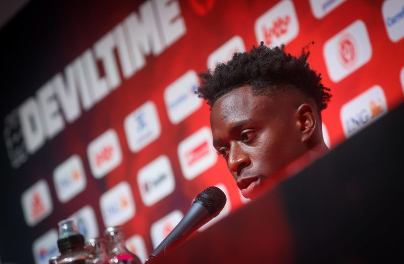 Belgium s Albert Sambi Lokonga pictured during a press moment of Belgian national soccer team Red Devils to prepare three qualification games for the 2022 World Cup, Monday 30 August 2021 in Tubize. Copyright VIRGINIE LEFOUR