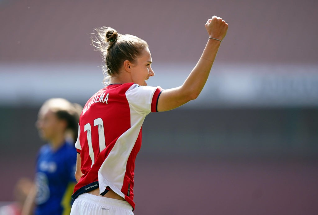Arsenal's Vivianne Miedema celebrates scoring her side's first goal of the game during the FA Women's Super League match at the Emirates Stadium, London. Picture date: Sunday, September 5, 2021. Copyright: Mike Egerton