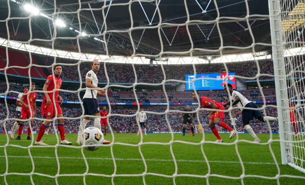 England's Bukayo Saka (right) scores his side's fourth goal of the game during the 2022 FIFA World Cup Qualifying match at Wembley Stadium, London. Picture date: Sunday, September 5, 2021. Copyright: Nick Potts