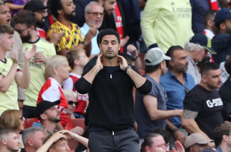 Mikel Arteta Arsenal head coach after a miss at the EPL match Arsenal v Norwich City, at the Emirates Stadium, London, UK on 11th September, 2021.