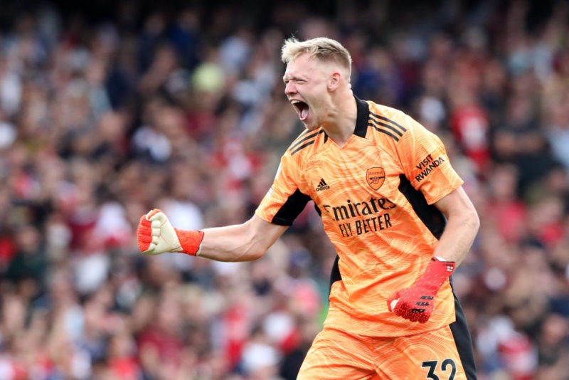 Aaron Ramsdale A celebrates the win at the EPL match Arsenal v Norwich City, at the Emirates Stadium, London, UK on 11th September, 2021.
