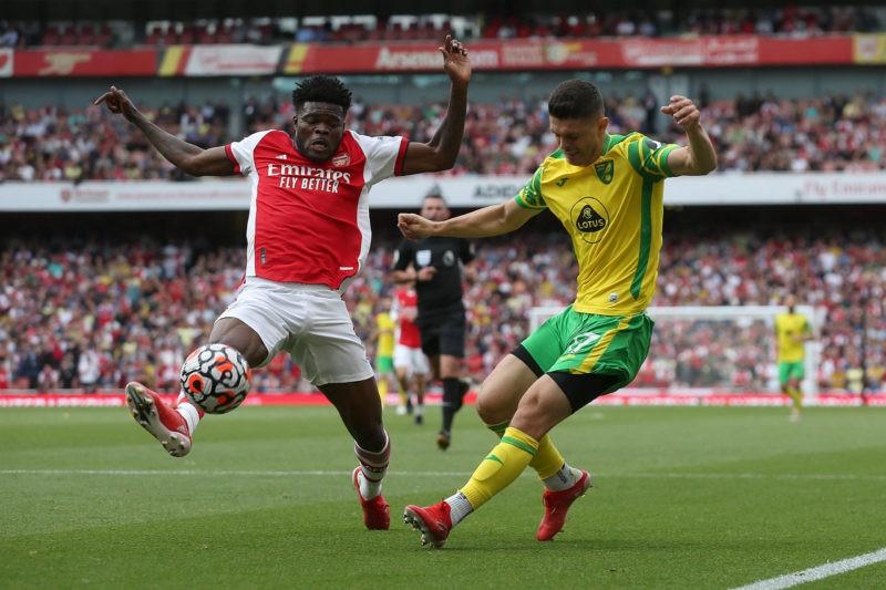 Arsenal v Norwich City Premier League Thomas Partey of Arsenal blocks a cross from Milot Rashica of Norwich during the Premier League match at the Emirates Stadium, London Copyright: Paul Chesterton