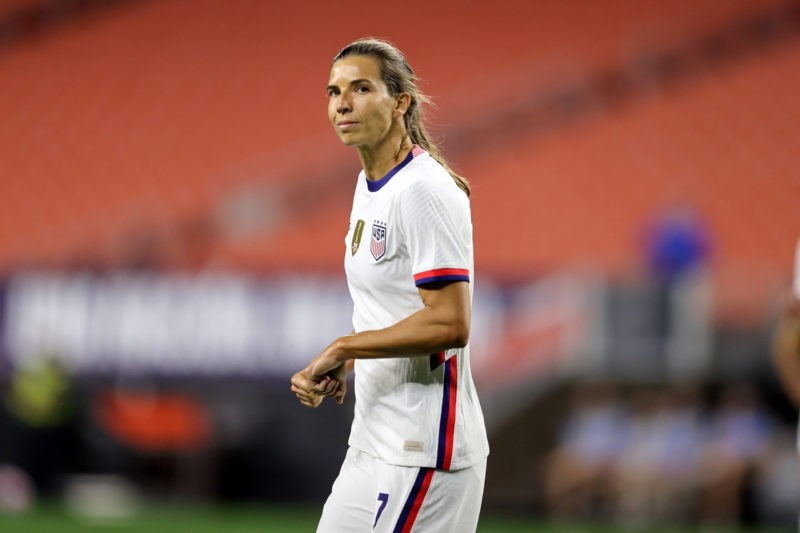 CLEVELAND, OH - SEPTEMBER 16: United States forward Tobin Heath 7 reacts after scoring a goal during the second half of the International Friendly, Länderspiel, Nationalmannschaft between the United States and Paraguay on September 16, 2021, at FirstEnergy Stadium in Cleveland, OH. Photo by Frank Jansky/Icon Sportswire