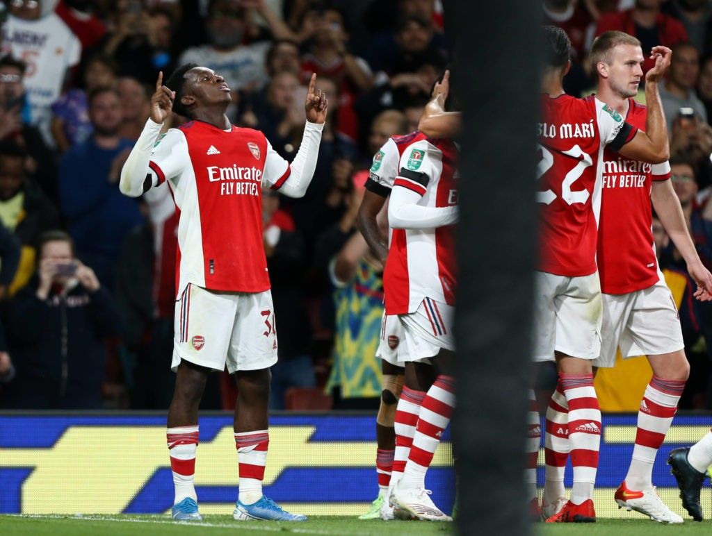 Carabao Cup - Arsenal v AFC Wimbledon - Eddie Nketiah of Arsenal celebrates his goal to make it 3-0, London Emirates Stadium. Copyright: ArronGent / News Images