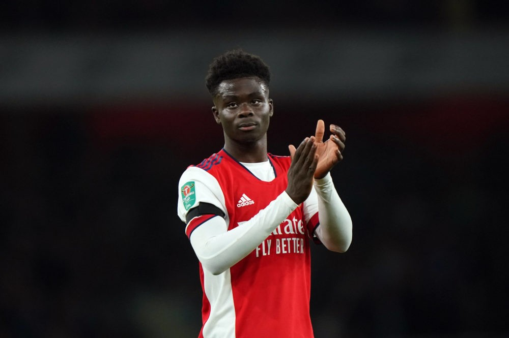 Arsenal v AFC Wimbledon - Arsenal's Bukayo Saka applauds the fans after the Carabao Cup third-round match at the Emirates Stadium, London. Picture date: Wednesday, September 22, 2021. Copyright: Tim Goode