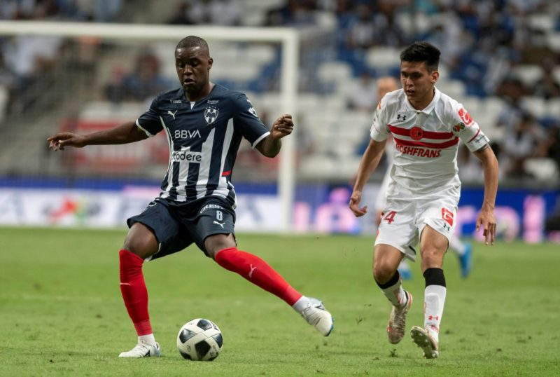 Joel Campbell i from Rayados de Monterrey disputes the ball with Jorge Rodriguez from Diablos Rojos de Toluca, during a match on journey 11 of the 2021 Opening Tournament of the MX League played at the BBVA stadium, in Monterrey, Mexico, 22 September 2021. EFE / Miguel Sierra Monterrey vs Toluca