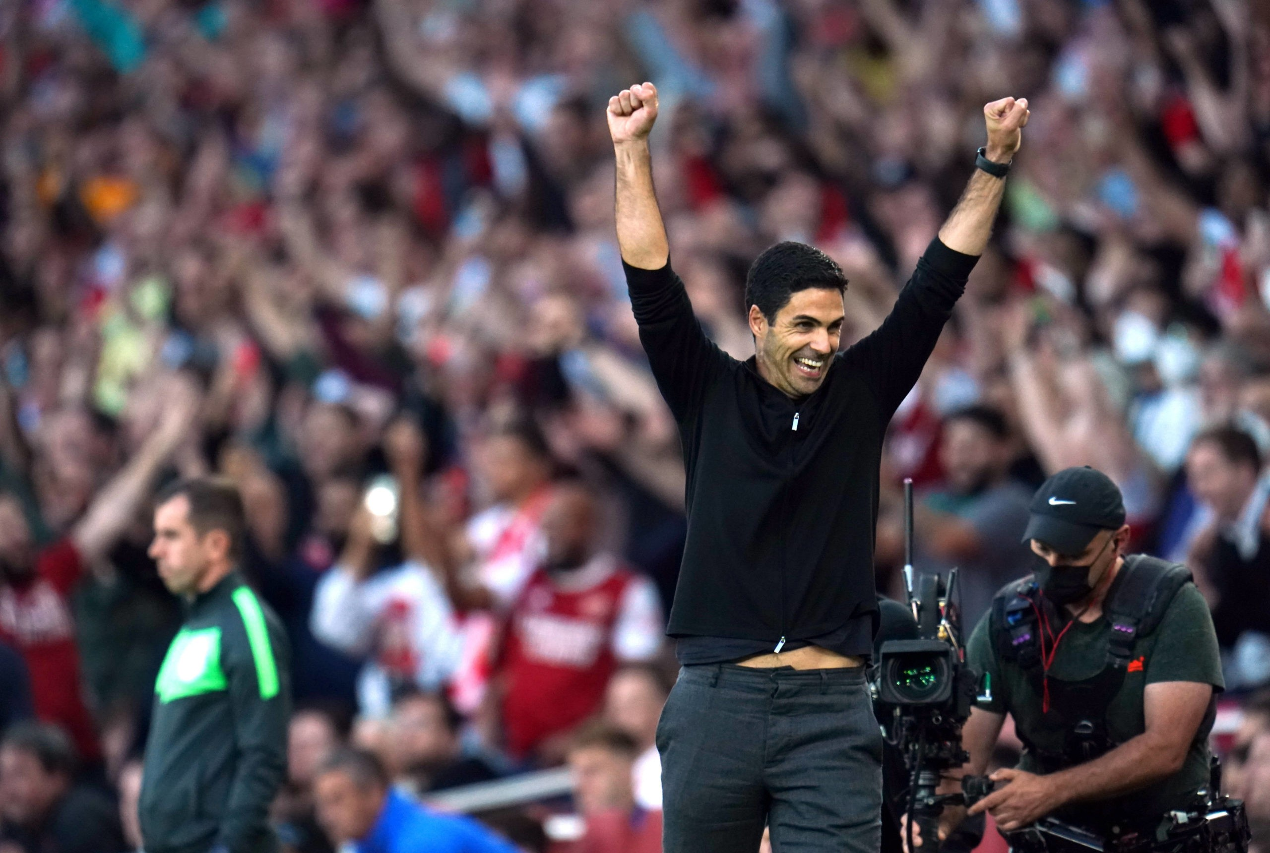 Arsenal manager Mikel Arteta celebrates after the Premier League win over Tottenham Hotspur at the Emirates Stadium, London. Picture date: Sunday, September 26, 2021. Copyright: Nick Potts