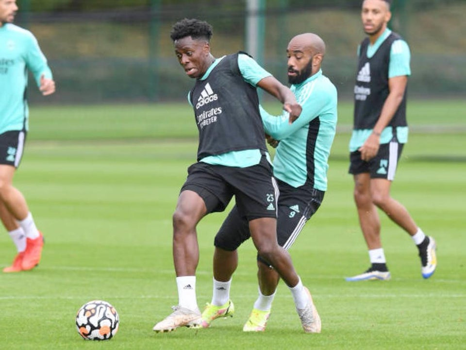 Albert Sambi Lokonga in training ahead of Arsenal vs Norwich