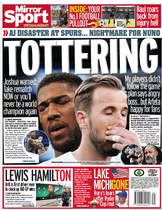 Daily Mirror back page 27 September 2021