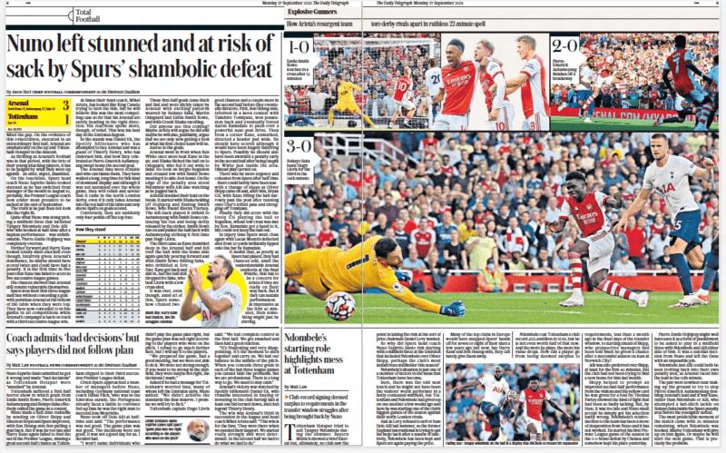 Arsenal vs Spurs Daily Telegraph 27 September 2021