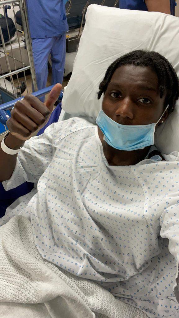 Brooke Norton-Cuffy after successful surgery (Photo via Norton-Cuffy on Twitter)
