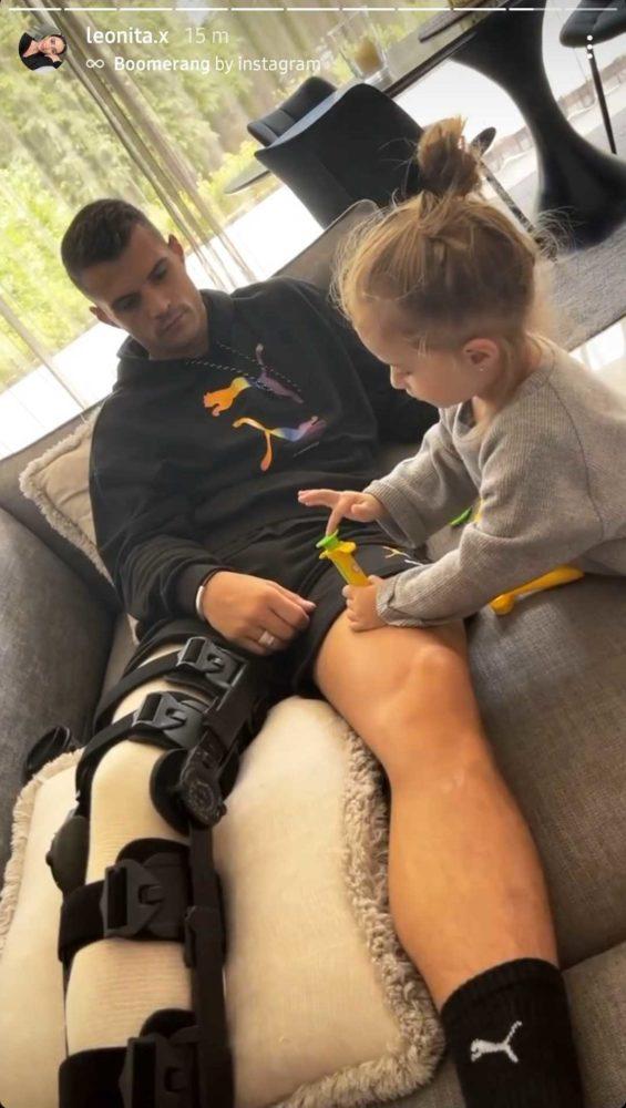 Granit Xhaka wearing protective leg gear after his injury (Photo via Leonita Xhaka on Instagram)