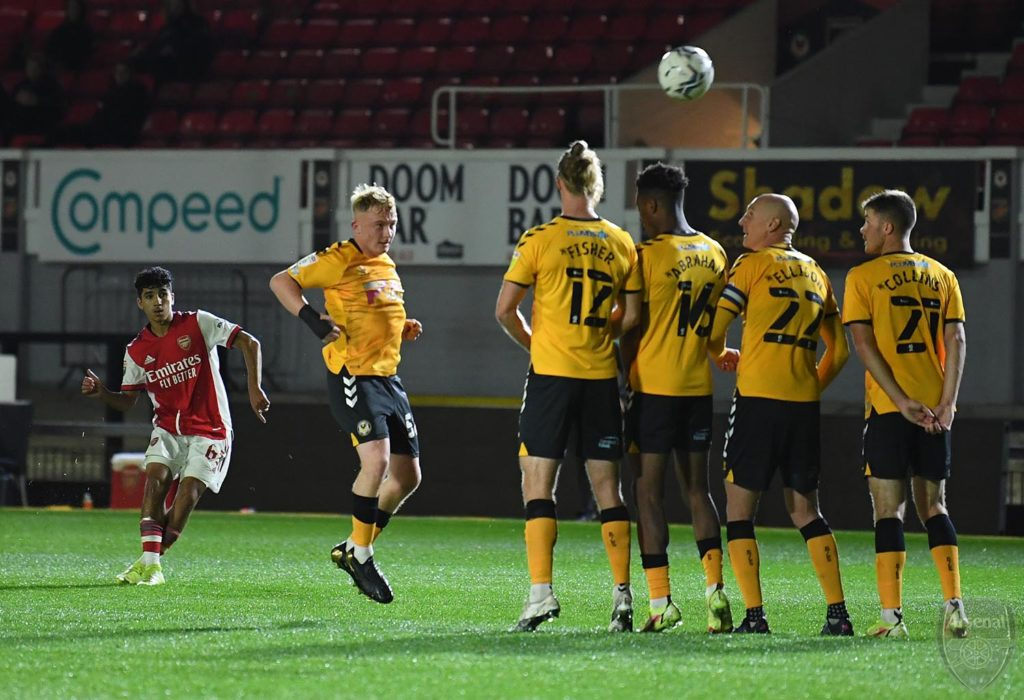 Salah-Eddine Oulad M'hand scores for the Arsenal u21s (Photo via David Price on Twitter)