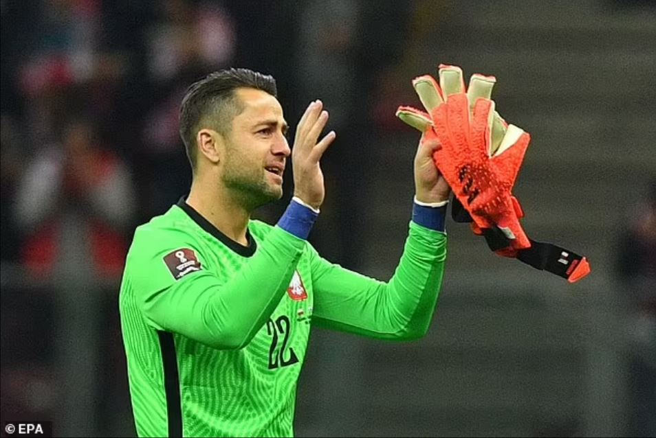 Lukasz Fabianski in tears following his substitution in his final game for Poland (Photo via EPA)