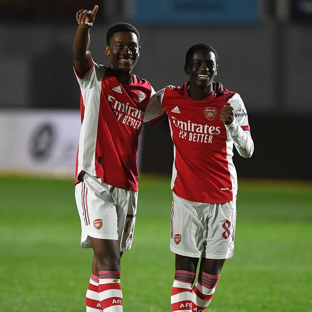 Khayon Edwards and Charles Sagoe Jr with the Arsenal u21s (Photo via Edwards on Instagram)