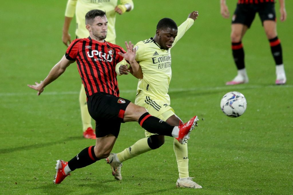 Nathan Butler-Oyedeji playing for the Arsenal u23s against Bournemouth (Photo via AFCB.co.uk)