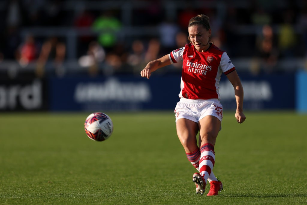 BOREHAMWOOD, ENGLAND: Katie McCabe of Arsenal passes the ball during the Barclays FA Women's Super League match between Arsenal Women and Everton Women at Meadow Park on October 10, 2021. (Photo by Paul Harding/Getty Images)
