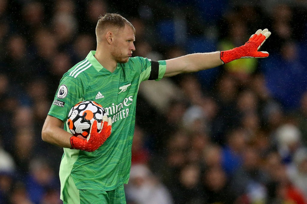 BRIGHTON, ENGLAND - OCTOBER 02: Aaron Ramsdale of Arsenal gives instructions during the Premier League match between Brighton & Hove Albion and Arsenal at American Express Community Stadium on October 02, 2021 in Brighton, England. (Photo by Steve Bardens/Getty Images)