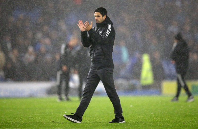 BRIGHTON, ENGLAND - OCTOBER 02: Mikel Arteta, Manager of Arsenal applauds fans after his sides draw in the Premier League match between Brighton & Hove Albion and Arsenal at American Express Community Stadium on October 02, 2021 in Brighton, England. (Photo by Steve Bardens/Getty Images)